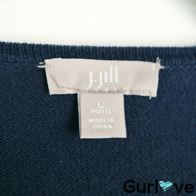 J. Jill Blue Cotton Open Cardigan Sweater Size L
