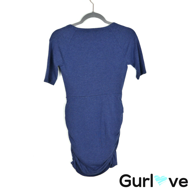 Athleta Blue Ruched Short Sleeve Jersey Seeker Dress Size XXSP