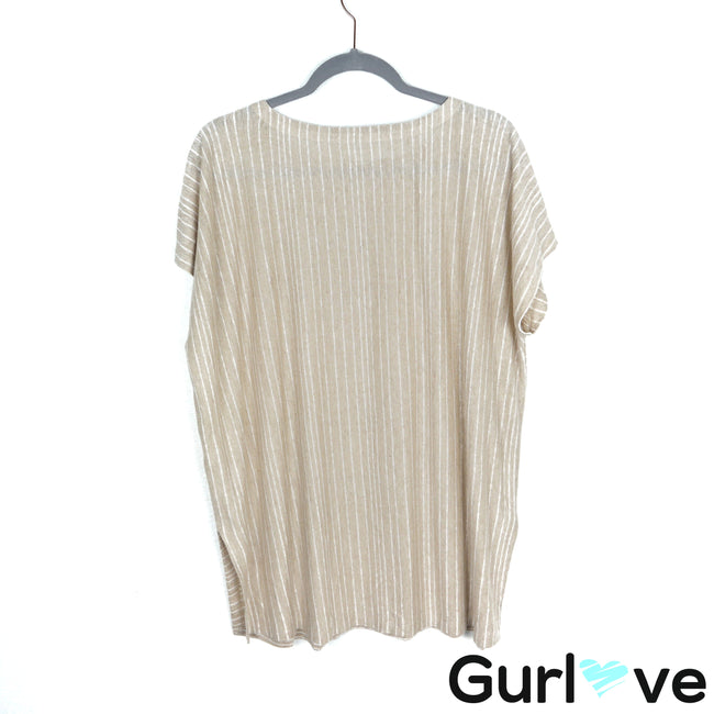 Eileen Fisher Cream Striped Organic Linen Tunic Top Size M