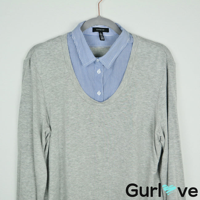 DREW Gray Henley Layered Soft Sweater Size L