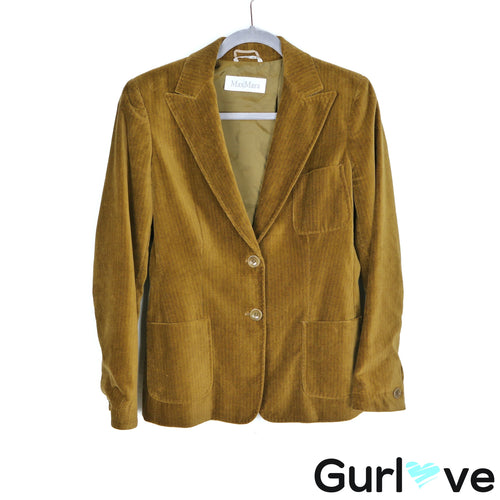 MaxMara Green Corduroy Pockets One Button Jacket Size 8