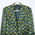 Laurel by ESCADA Green Triangles One Button Blazer Size 42