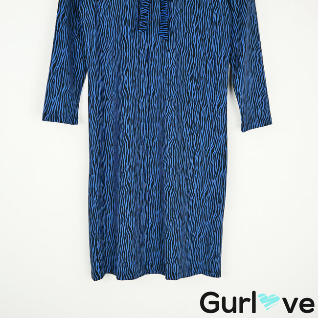 J. McLaughlin Blue Animal Print Catalina Front Tie Dress Size XS