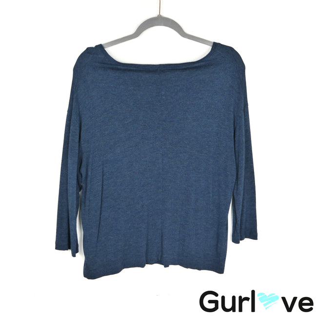 VINCE Blue Basic Pocket Top Size M