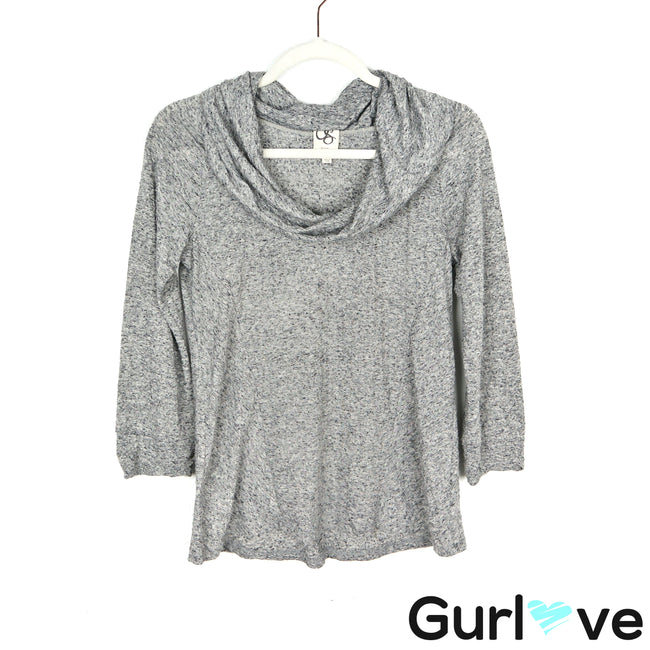 One September Gray Cowl Neck 3/4 Sleeve Top Size P