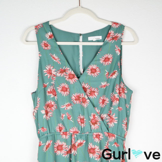 June & Hudson Mint Floral Sleeveless Romper Size M