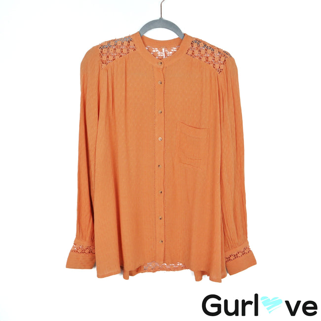 Free People Orange The Best Crochet Button Peach Boho Blouse Size S