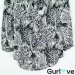 HD in Paris Black Button Scallop Tree Owl Forest Print Blouse Size 2