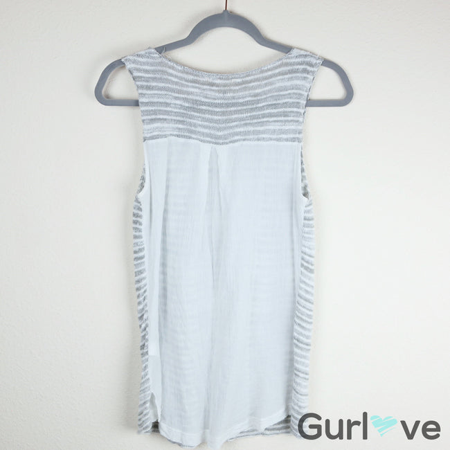 SALE Lucky Brand White Grey Striped Echo Knit Front Tank Top Size M