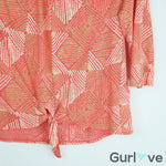 SALE Lucky Brand Orange Diamond Tie-Front Top Size M