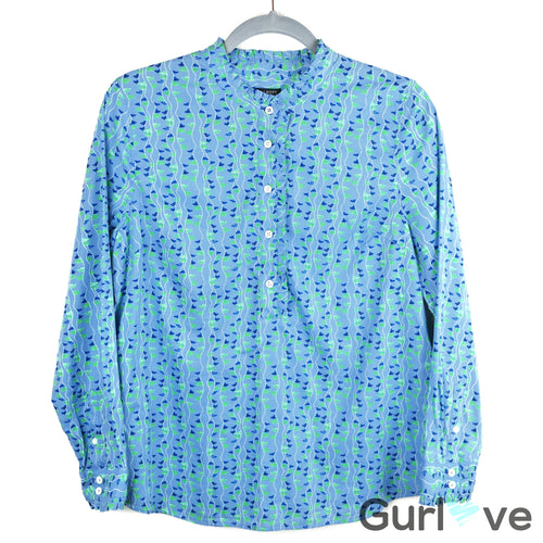 Talbots Petite Blue Half Button Print Shirt Size MP