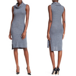 Christian Siriano New York Gray Brushed Cowl Neck Midi Dress Size S