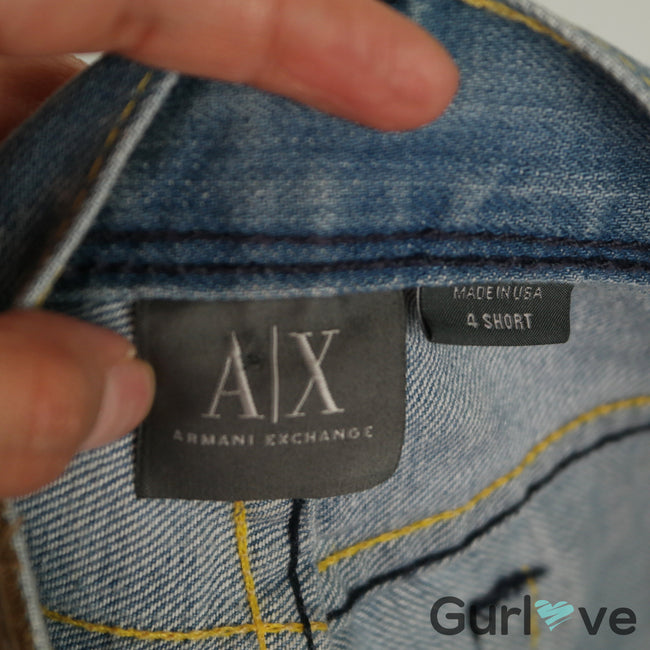 Armani Exchange Bleached Embroider Distressed Sz 4