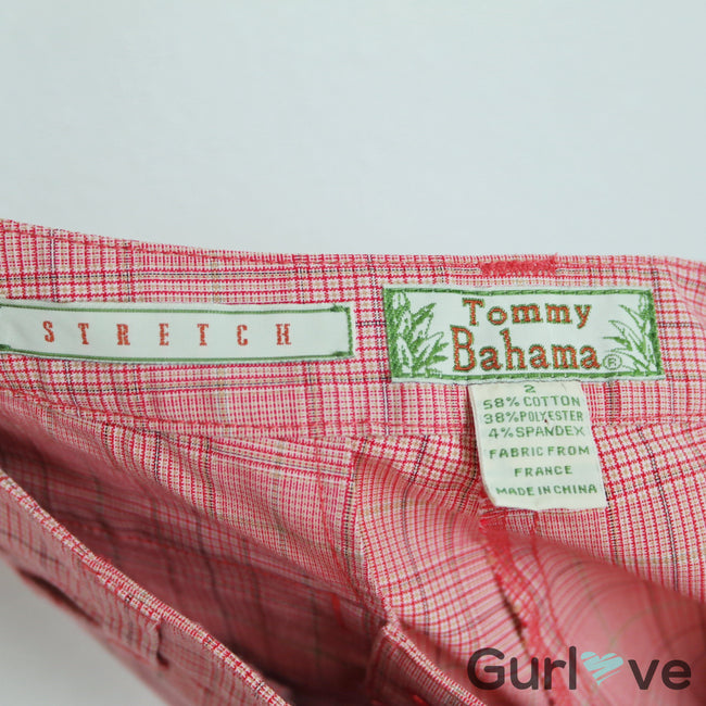 Tommy Bahama Pink Plaid Stretch Pants Size 2