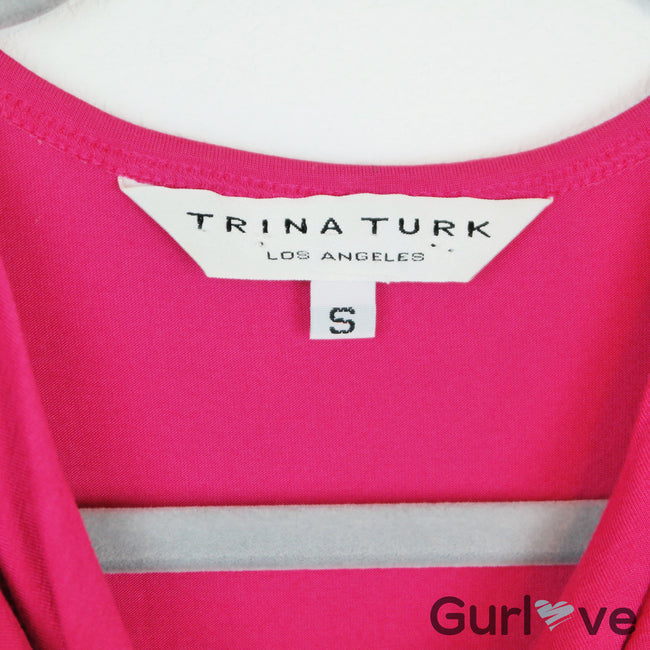 Trina Turk Pink Sleeveless Cowl Neck Faux Wrap Top Size S