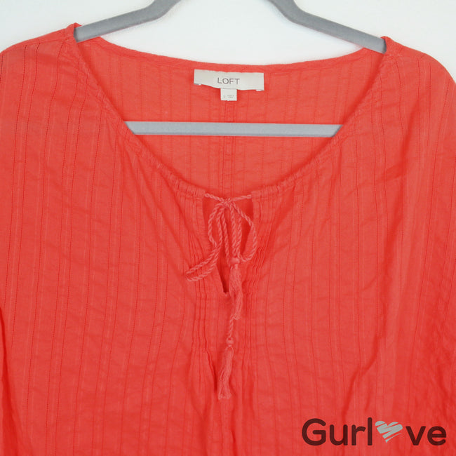 Ann Taylor LOFT Orange Tunic Tassel Blouse Size S