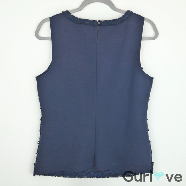 J. Crew Navy Blue Lace Sleeveless Top Size M