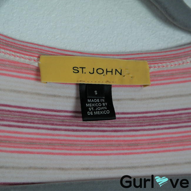 St. John Size S Pink Striped 3/4 Sleeve Stretch Blouse Top