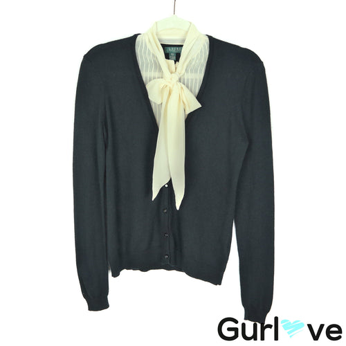 LRL MP Black Silk Cashmere Collar Button Cardigan Sweater