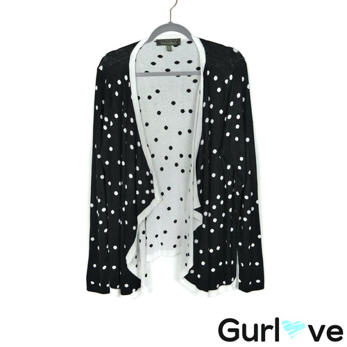 Charlotte Tarantola Size XL Black White Polka Dot Waterfall Open Cardigan