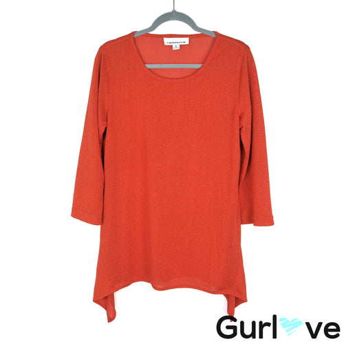 Caroline Rose Size S Orange Knit Tunic Top