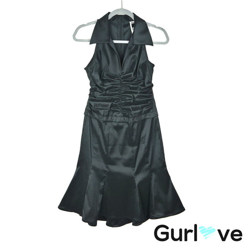 Tadashi 6P Black Petite Taffeta Sleeveless Rouched Dress