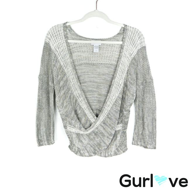 Soft Surroundings S Gray Linen Wrap Around Knit Sweater