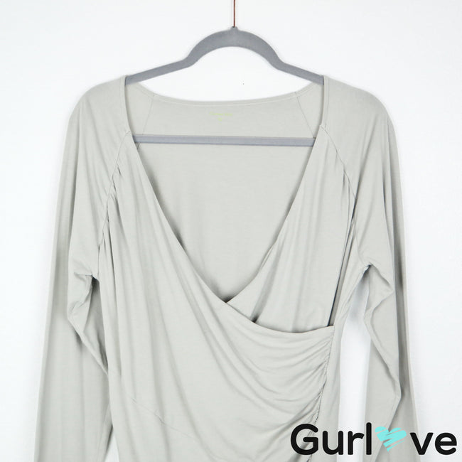 Garnet Hill L Gray Faux Wrap Long Sleeve Blouse