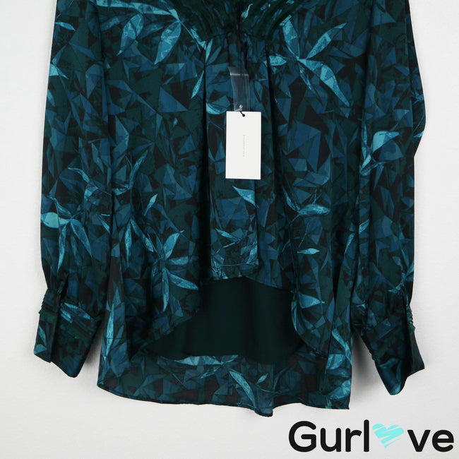 NWT H Halston M Teal Leaves V Neck Long Sleeve Blouse