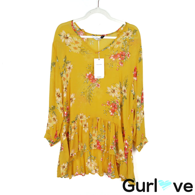 NWT Zara Size M Yellow Floral Long Sleeve V Neck Ruffle Hi Low Blouse
