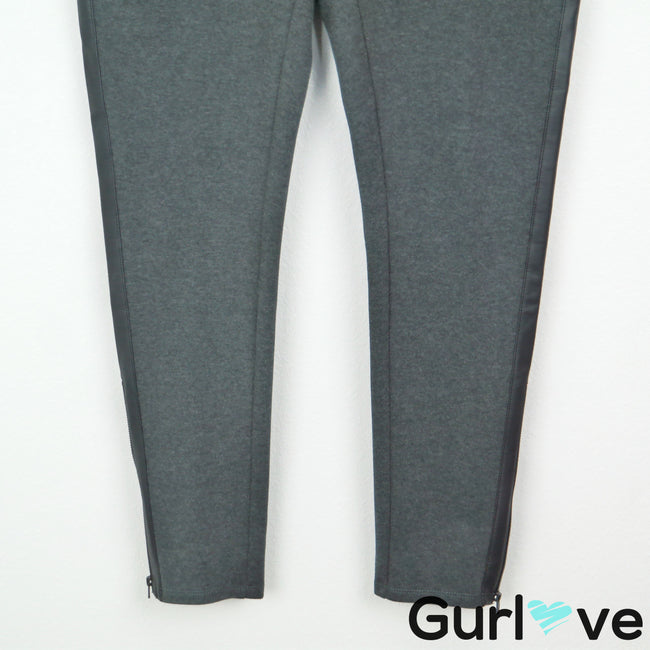 NWOT Lane Bryant 14 Gray Faux Leather Ankle Zipper Leggings