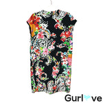 LRL 8 Black Floral V Neck Sleeveless Tunic Dress