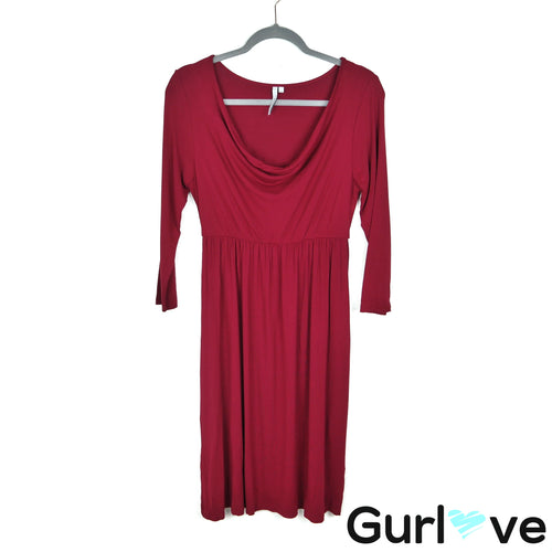 Michael Stars M Red 3/4 Sleeves Cowl Neck Midi Dress