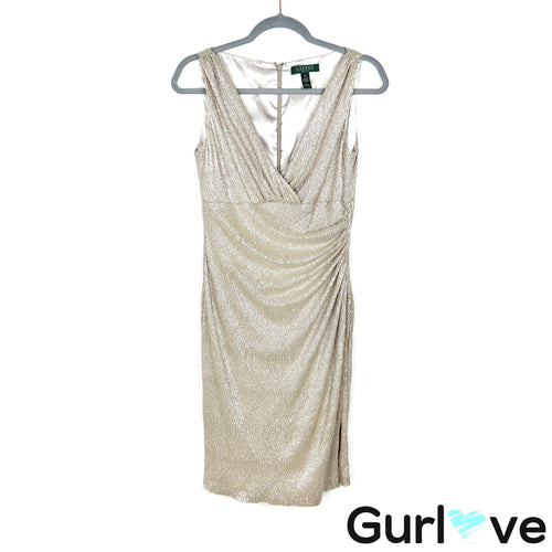 LRL 8P Gold Cinched V Neck Sleeveless Sheath Dress