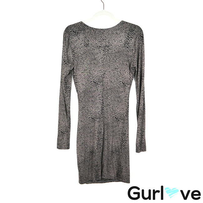 Three Dots Size M Taupe Black Faux Wrap Long Sleeve Dress