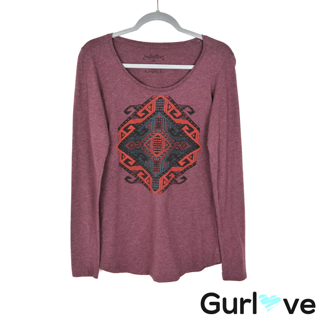 Peruvian Connection S Purple Tribal Long Sleeve Top