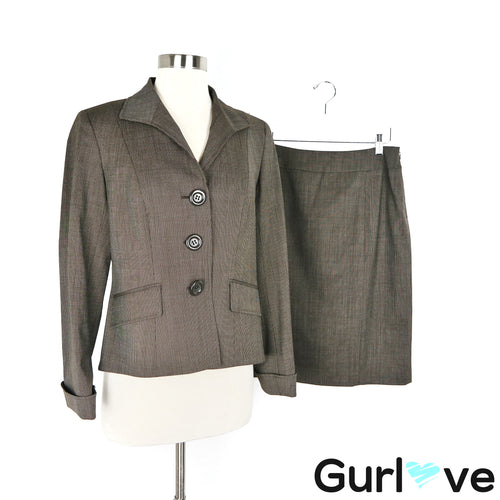 Lafayette 148 NY 6 Brown Two Pieces Suit Blazer Jacket Pencil Skirt
