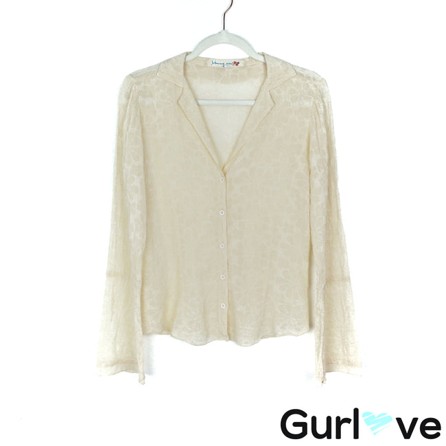 Johnny Was Size XS Ivory Flory Textured Bell Sleeve Button Top