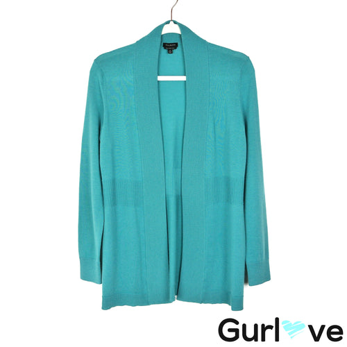 Talbots Size S Teal Merino Wool Open Cardigan Sweater