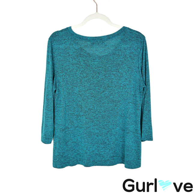 Travel Elements L Teal 3/4 Sleeve Top