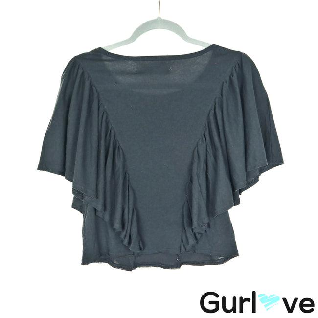NWT Free People Beach Size S Black Ruffle Poncho Top
