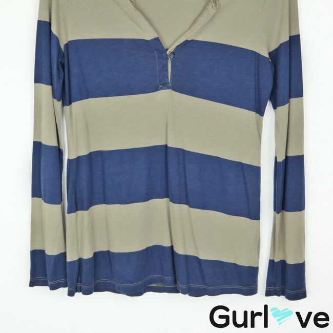 Splendid Size S Green Navy Striped Half Button Long Sleeve Top