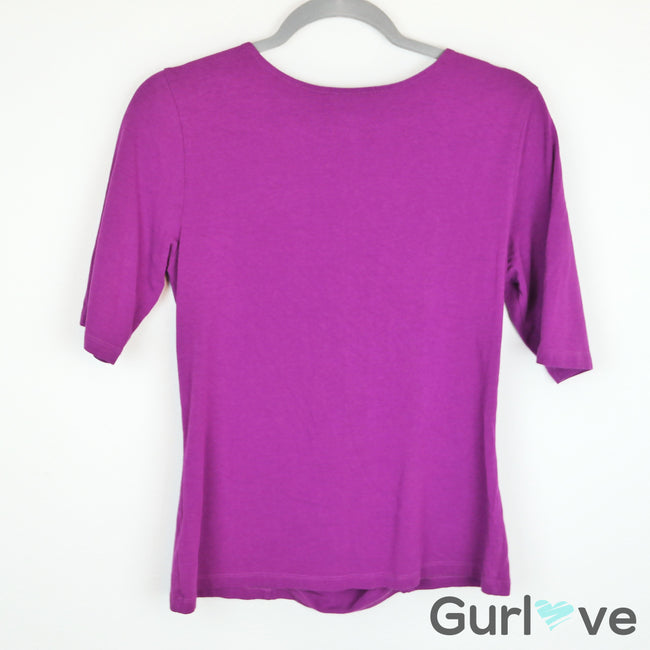 SALE Soft Surroundings Royal Purple Tristan 3/4 Sleeve Blouse Size M