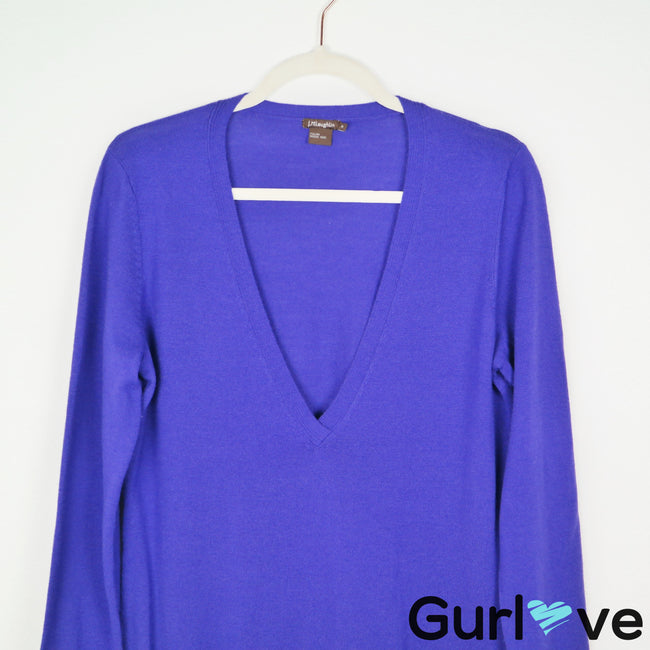 J. McLaughlin Purple Merino Wool V Neck Pockets Sweater Size M