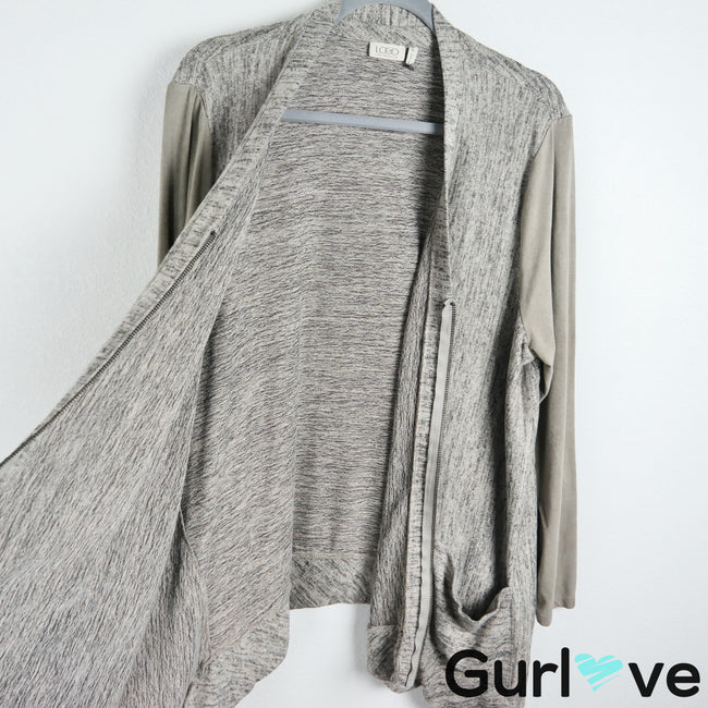 LOGO by Lori Goldstein XL Gray Suede Sleeves Pockets Hi Low Zip Cardigan Sweater