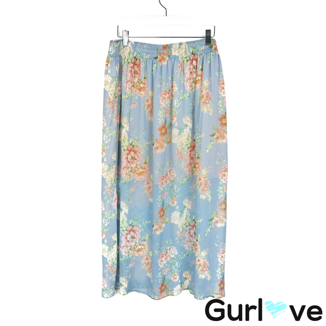 ZARA Woman Blue Floral Flowers Open Side Midi Skirt Size L