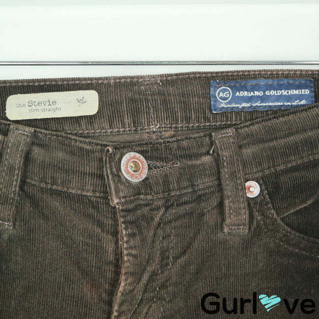 AG Adriano Goldschmied Brown Corduroy Stevie Slim Straight Jeans Size 25R