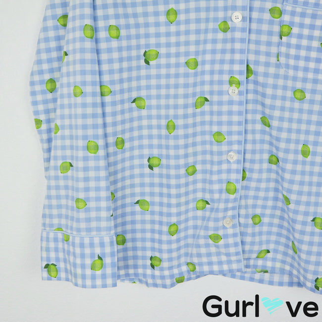 J. Crew Blue Lemon Gingham Button Pajama Top Size M