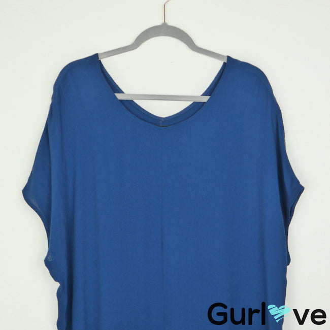Reformation Solid Blue V Neck Tunic Dress Size S