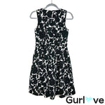 Talbots Black Floral Sleeveless Pockets Fit Flare Midi Dress Size 4P